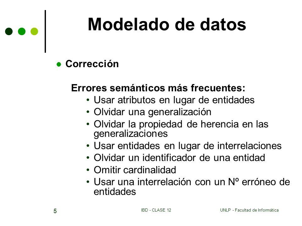 UNLP - Facultad de InformáticaIBD - CLASE 12 5 Modelado de datos Corrección Errores semánticos más frecuentes: Usar atributos en lugar de entidades Ol