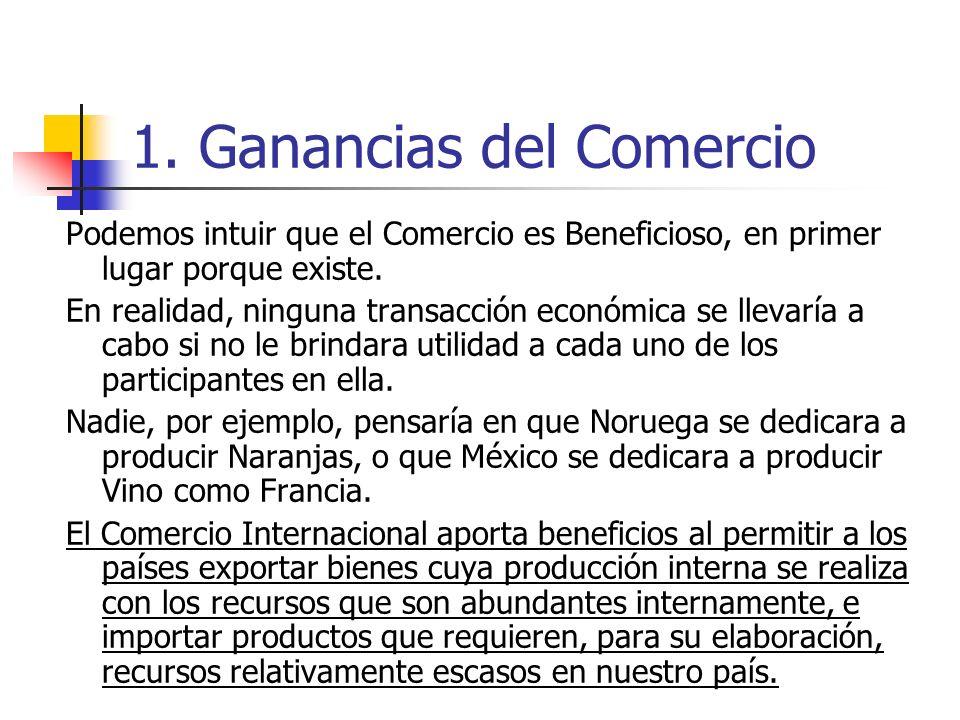 1. Ganancias del Comercio Podemos intuir que el Comercio es Beneficioso, en primer lugar porque existe. En realidad, ninguna transacción económica se