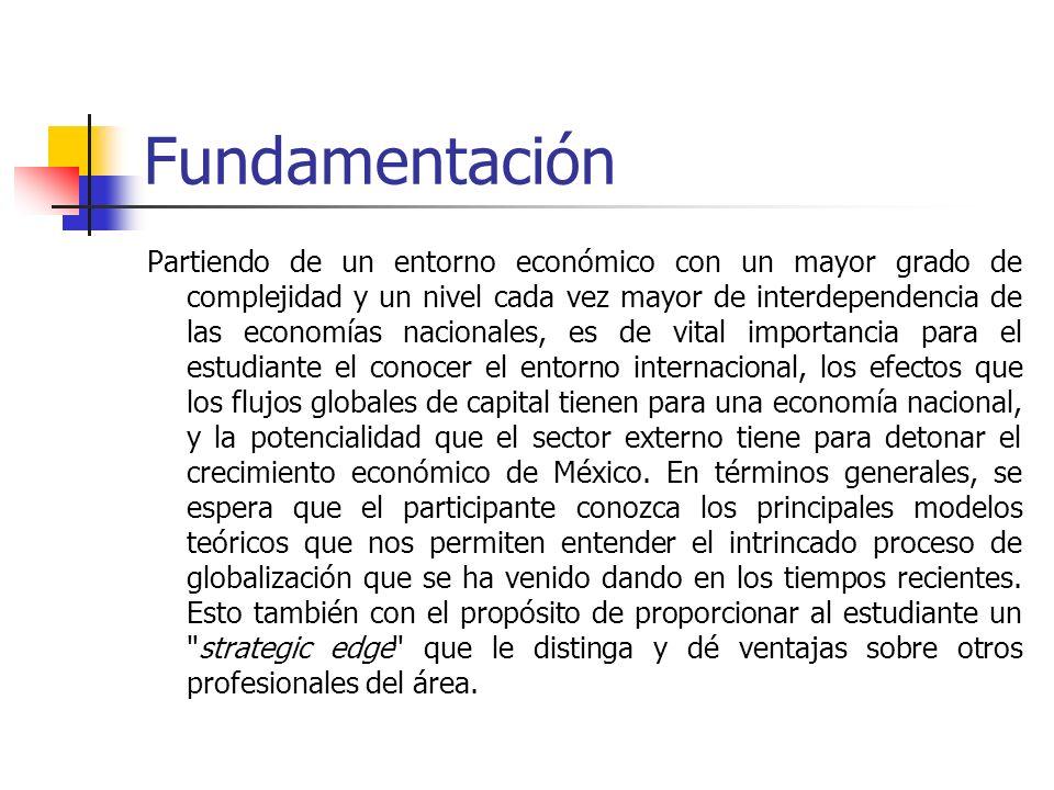 Fundamentación Partiendo de un entorno económico con un mayor grado de complejidad y un nivel cada vez mayor de interdependencia de las economías naci