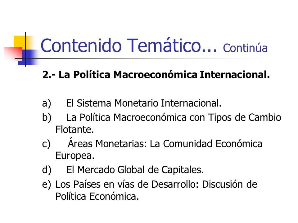 Contenido Temático... Continúa 2.- La Política Macroeconómica Internacional. a) El Sistema Monetario Internacional. b) La Política Macroeconómica con