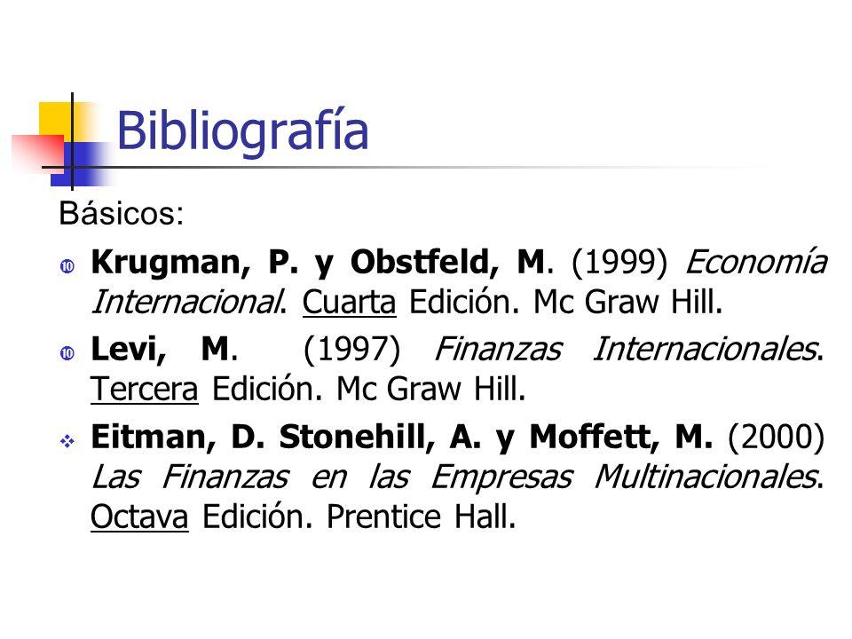 Bibliografía Básicos: Krugman, P. y Obstfeld, M. (1999) Economía Internacional. Cuarta Edición. Mc Graw Hill. Levi, M. (1997) Finanzas Internacionales