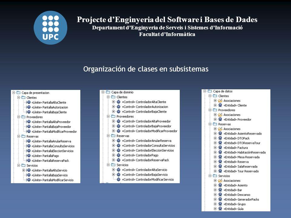 Projecte dEnginyeria del Software i Bases de Dades Departament dEnginyeria de Serveis i Sistemes dInformació Facultat dInformàtica Organización de clases en subsistemas
