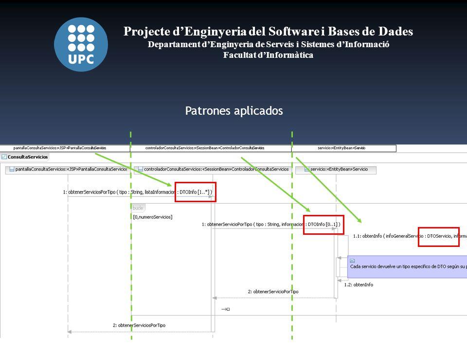 Projecte dEnginyeria del Software i Bases de Dades Departament dEnginyeria de Serveis i Sistemes dInformació Facultat dInformàtica Patrones aplicados
