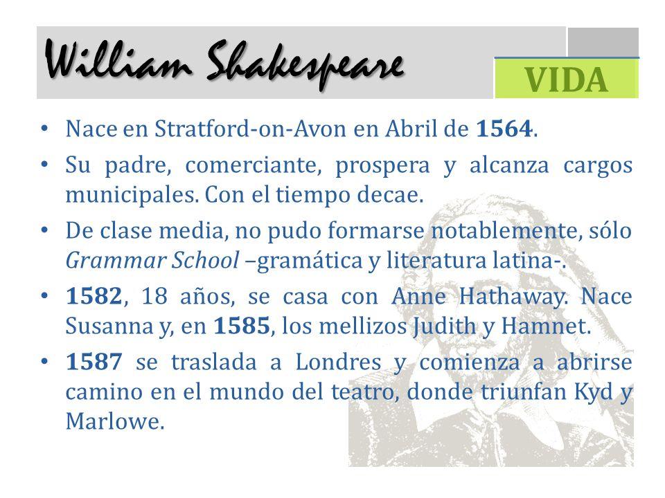 William Shakespeare Nace en Stratford-on-Avon en Abril de 1564. Su padre, comerciante, prospera y alcanza cargos municipales. Con el tiempo decae. De