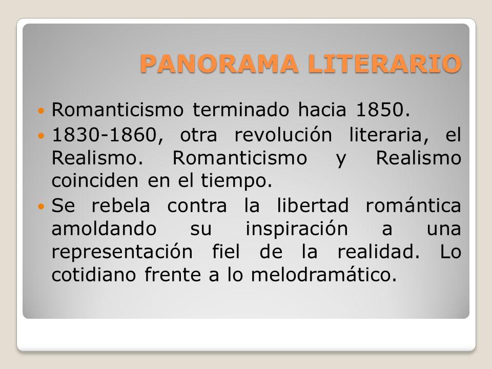PANORAMA LITERARIO Romanticismo terminado hacia 1850. 1830-1860, otra revolución literaria, el Realismo. Romanticismo y Realismo coinciden en el tiemp