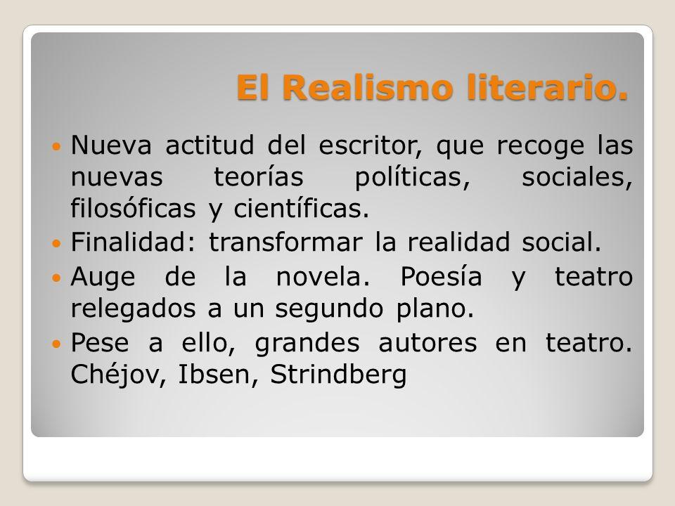 El Realismo literario. Nueva actitud del escritor, que recoge las nuevas teorías políticas, sociales, filosóficas y científicas. Finalidad: transforma