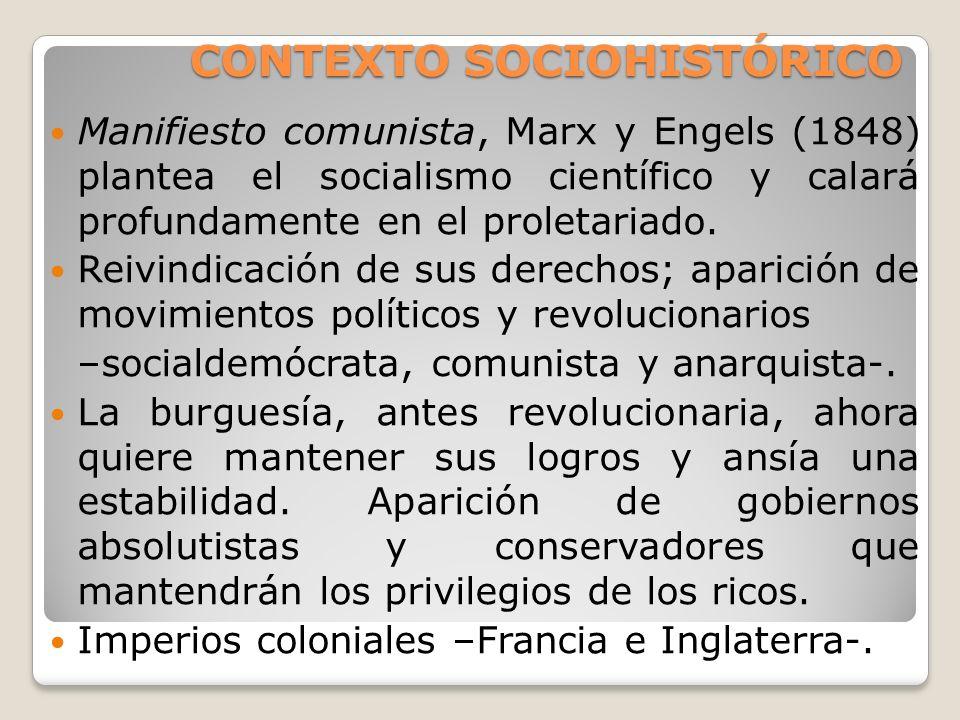 CONTEXTO SOCIOHISTÓRICO Manifiesto comunista, Marx y Engels (1848) plantea el socialismo científico y calará profundamente en el proletariado. Reivind