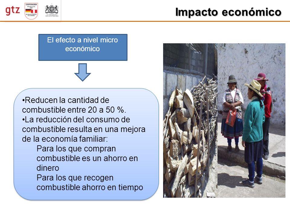 Impacto económico El efecto a nivel micro económico Reducen la cantidad de combustible entre 20 a 50 %. La reducción del consumo de combustible result