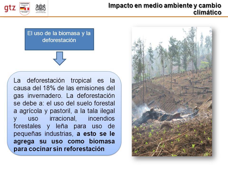 Impacto en medio ambiente y cambio climático El uso de la biomasa y la deforestación La deforestación tropical es la causa del 18% de las emisiones de