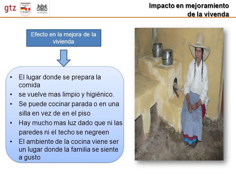 Impacto en mejoramiento de la vivenda Efecto en la mejora de la vivienda El lugar donde se prepara la comida se vuelve mas limpio y higiénico. Se pued
