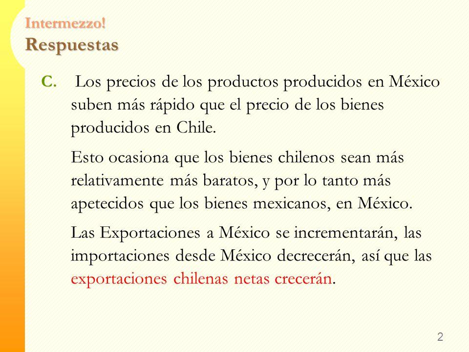 Intermezzo! Respuestas A. Canadá experimenta una recesión (bajan los ingresos, sube el desempleo) Las exportaciones chilenas caerán Debido a una caída