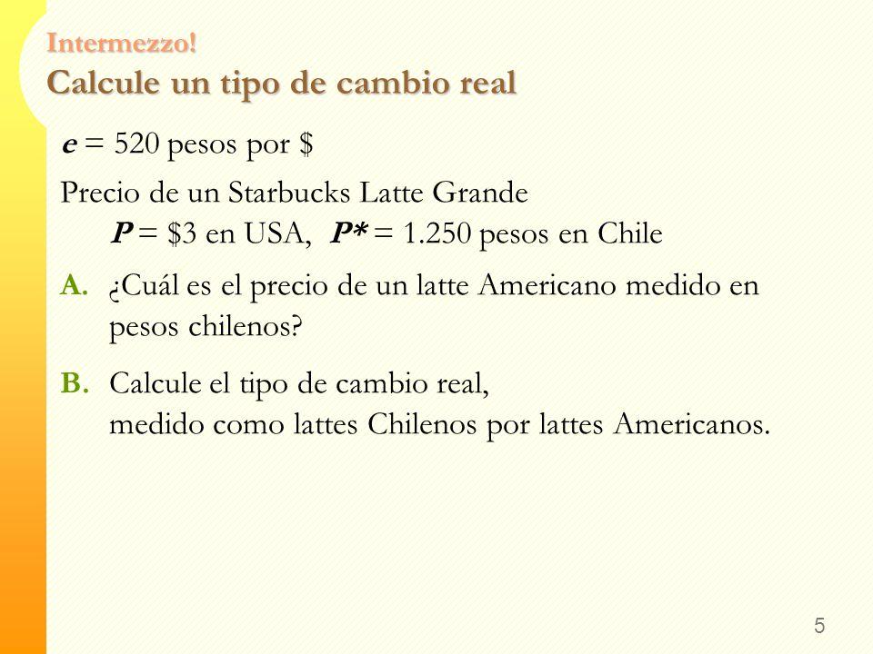 4 Interpretando el Tipo de Cambio Real El tipo de cambio real = 0.75 Big Macs japoneses por Big Mac de USA Esto no significa que un ciudadano japonés