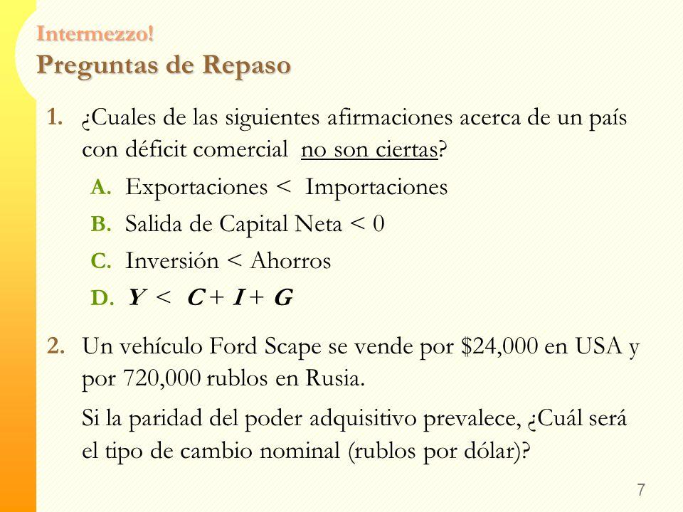 Intermezzo! Respuestas 6 e x P = (520 pesos por $) x (3 $ por latte americano) = 1560 pesos por latte Americano B. Calcule el tipo de cambio real 1560