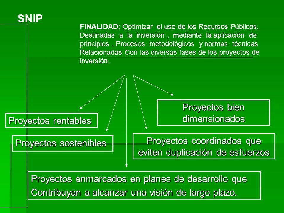SNIP FINALIDAD: Optimizar el uso de los Recursos Públicos, Destinadas a la inversión, mediante la aplicación de principios, Procesos metodológicos y n