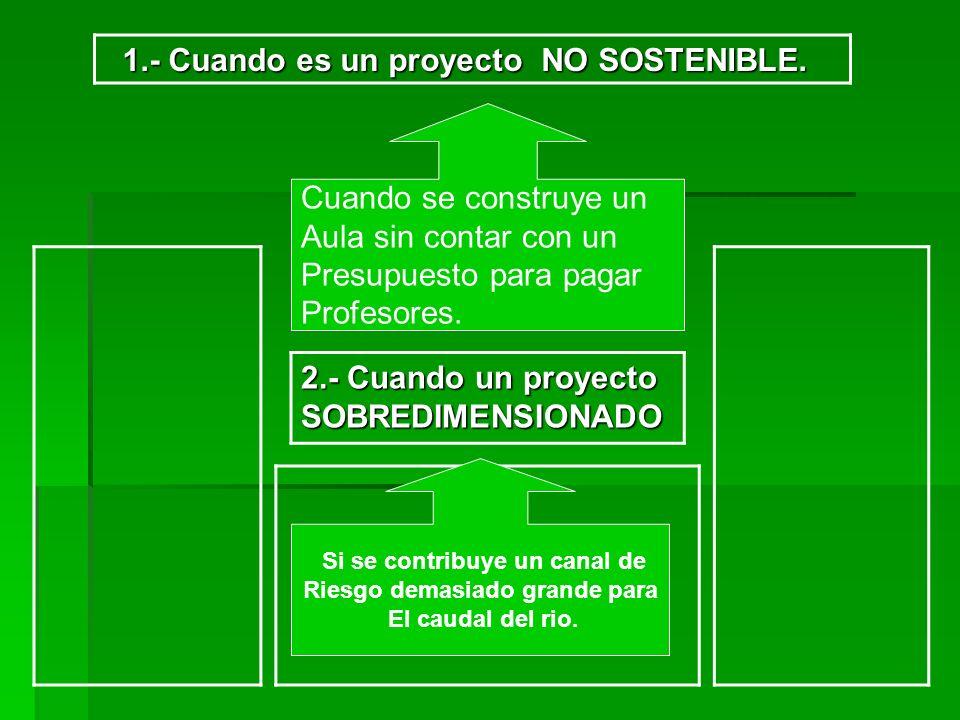 2.- Cuando un proyecto SOBREDIMENSIONADO 1.- Cuando es un proyecto NO SOSTENIBLE. 1.- Cuando es un proyecto NO SOSTENIBLE. Cuando se construye un Aula