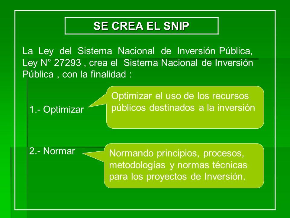 SE CREA EL SNIP La Ley del Sistema Nacional de Inversión Pública, Ley N° 27293, crea el Sistema Nacional de Inversión Pública, con la finalidad : 1.-