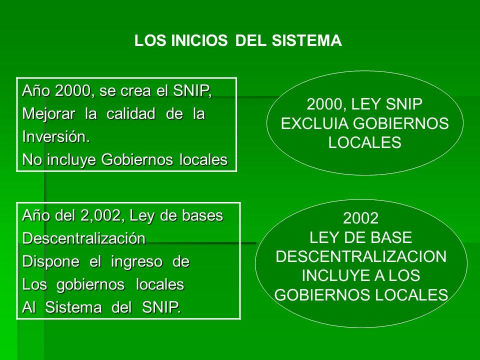 LOS INICIOS DEL SISTEMA Año 2000, se crea el SNIP, Mejorar la calidad de la Inversión. No incluye Gobiernos locales Año del 2,002, Ley de bases Descen