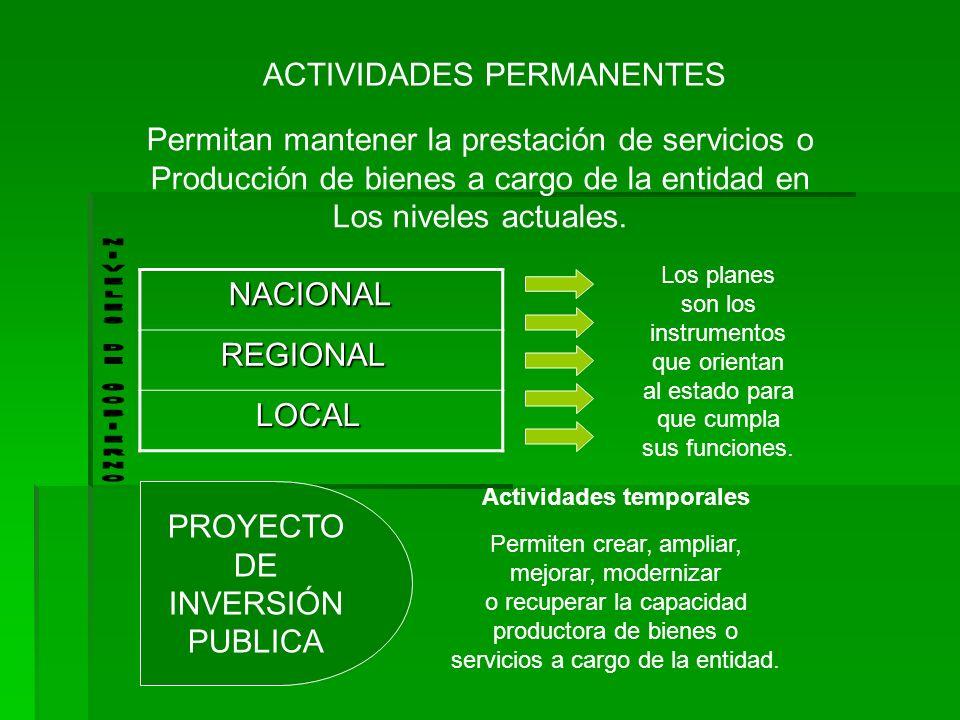 ACTIVIDADES PERMANENTES Permitan mantener la prestación de servicios o Producción de bienes a cargo de la entidad en Los niveles actuales. NACIONAL NA