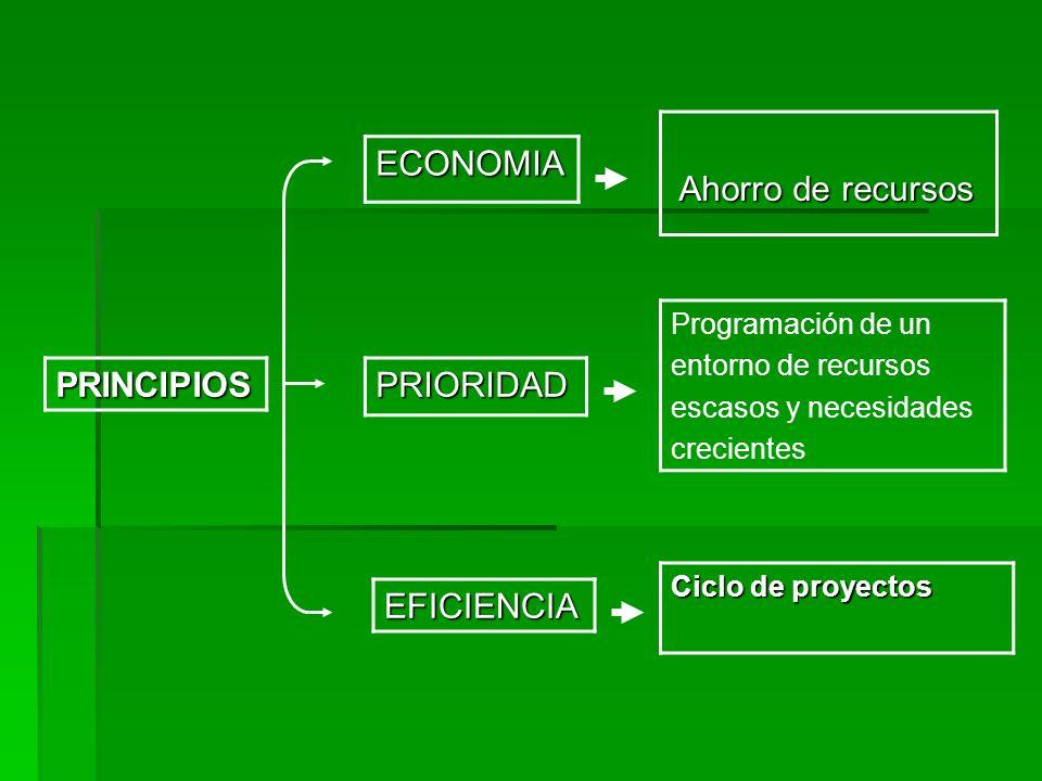 PRIORIDADPRINCIPIOS EFICIENCIA Ciclo de proyectos Programación de un entorno de recursos escasos y necesidades crecientes Ahorro de recursos Ahorro de