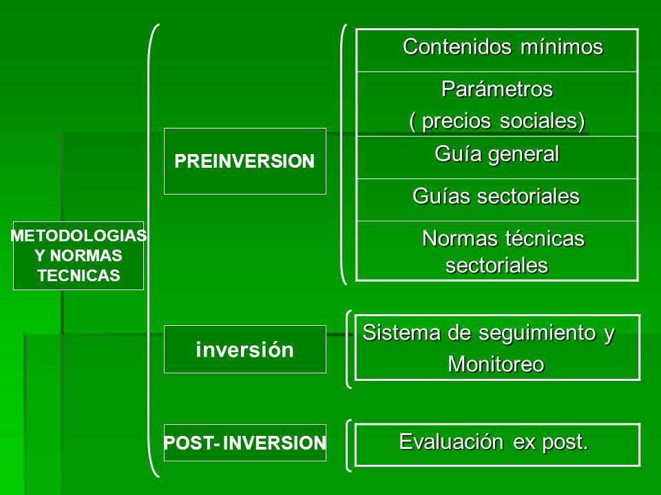 Sistema de seguimiento y Monitoreo Monitoreo Evaluación ex post. Evaluación ex post. Contenidos mínimos Contenidos mínimosParámetros ( precios sociale