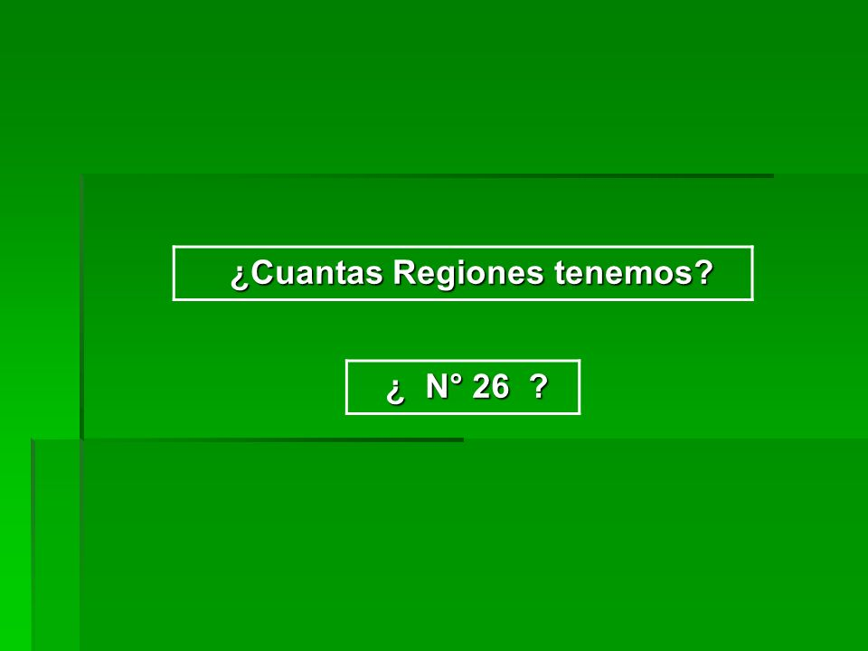 ¿Cuantas Regiones tenemos? ¿Cuantas Regiones tenemos? ¿ N° 26 ? ¿ N° 26 ?