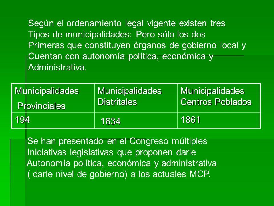 Según el ordenamiento legal vigente existen tres Tipos de municipalidades: Pero sólo los dos Primeras que constituyen órganos de gobierno local y Cuen