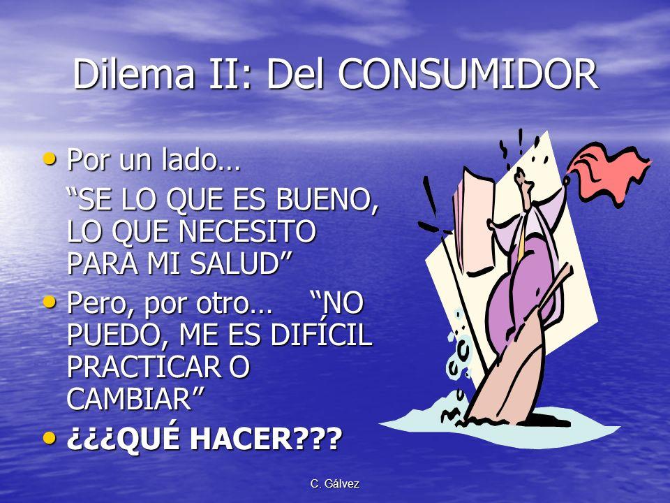 C. Gálvez Dilema II: Del CONSUMIDOR Por un lado… Por un lado… SE LO QUE ES BUENO, LO QUE NECESITO PARA MI SALUD Pero, por otro… NO PUEDO, ME ES DIFÍCI