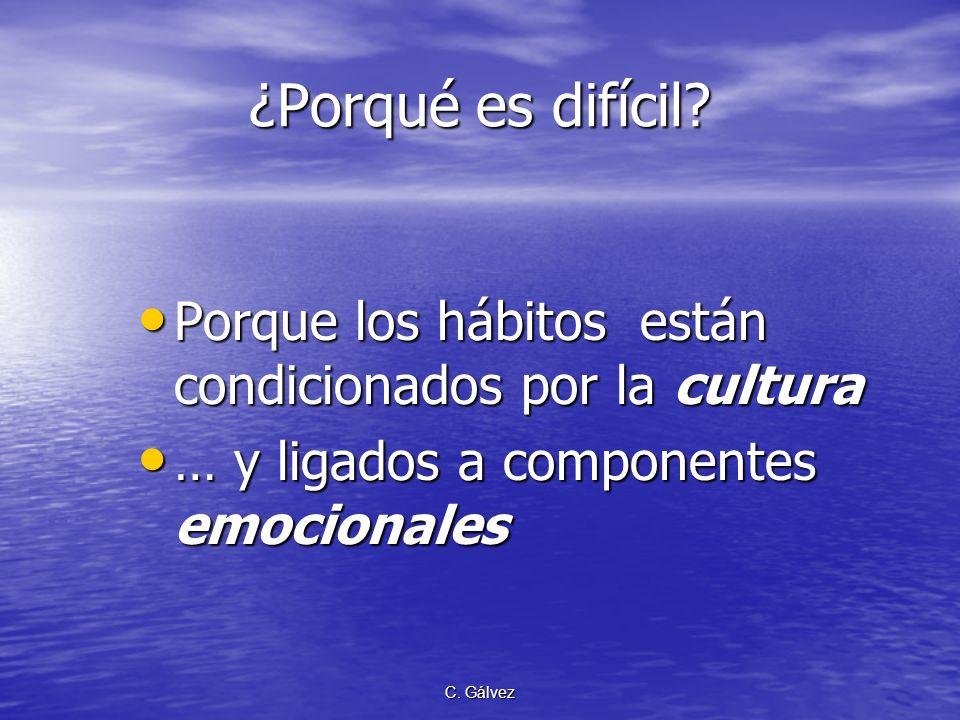 C. Gálvez ¿Porqué es difícil? Porque los hábitos están condicionados por la cultura Porque los hábitos están condicionados por la cultura … y ligados