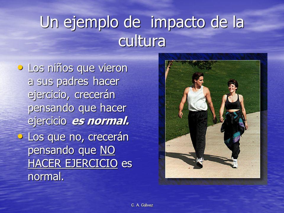 C. A. Gálvez Un ejemplo de impacto de la cultura Los niños que vieron a sus padres hacer ejercicio, crecerán pensando que hacer ejercicio es normal. L