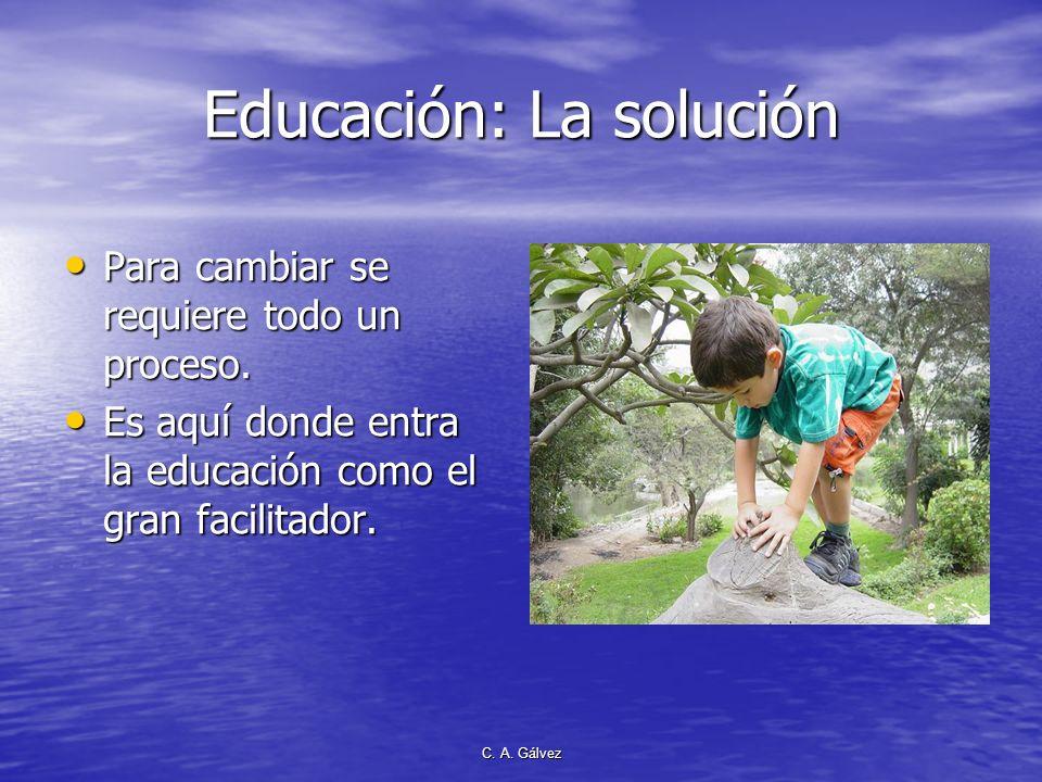 C. A. Gálvez Educación: La solución Para cambiar se requiere todo un proceso. Para cambiar se requiere todo un proceso. Es aquí donde entra la educaci