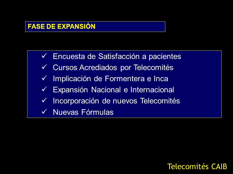 Encuesta de Satisfacción a pacientes Cursos Acrediados por Telecomités Implicación de Formentera e Inca Expansión Nacional e Internacional Incorporaci