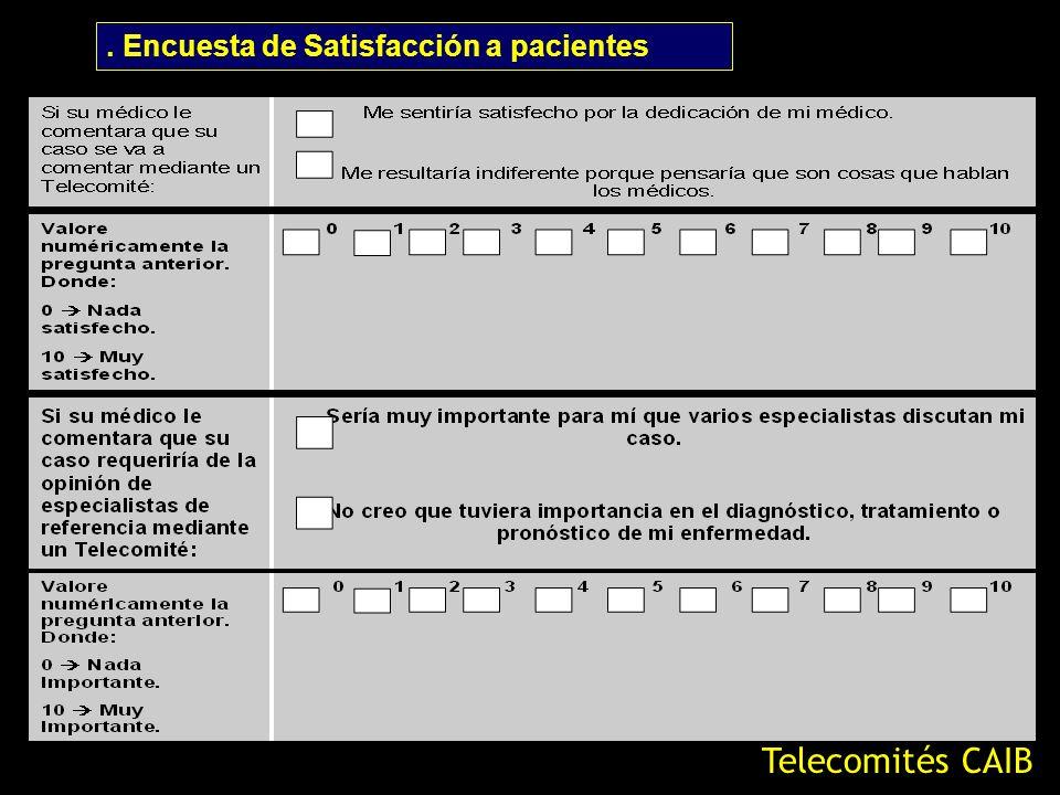 Telecomités CAIB. Encuesta de Satisfacción a pacientes