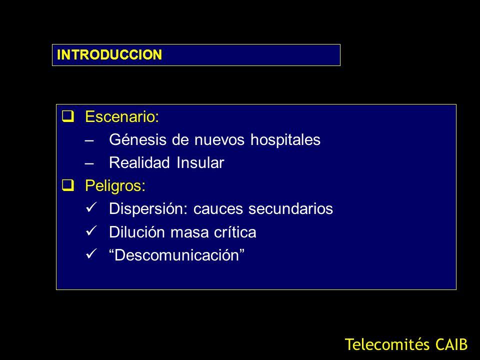 Escenario: –Génesis de nuevos hospitales –Realidad Insular Peligros: Dispersión: cauces secundarios Dilución masa crítica Descomunicación INTRODUCCION