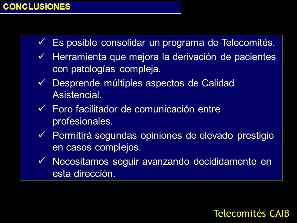 CONCLUSIONES Telecomités CAIB Es posible consolidar un programa de Telecomités. Herramienta que mejora la derivación de pacientes con patologías compl