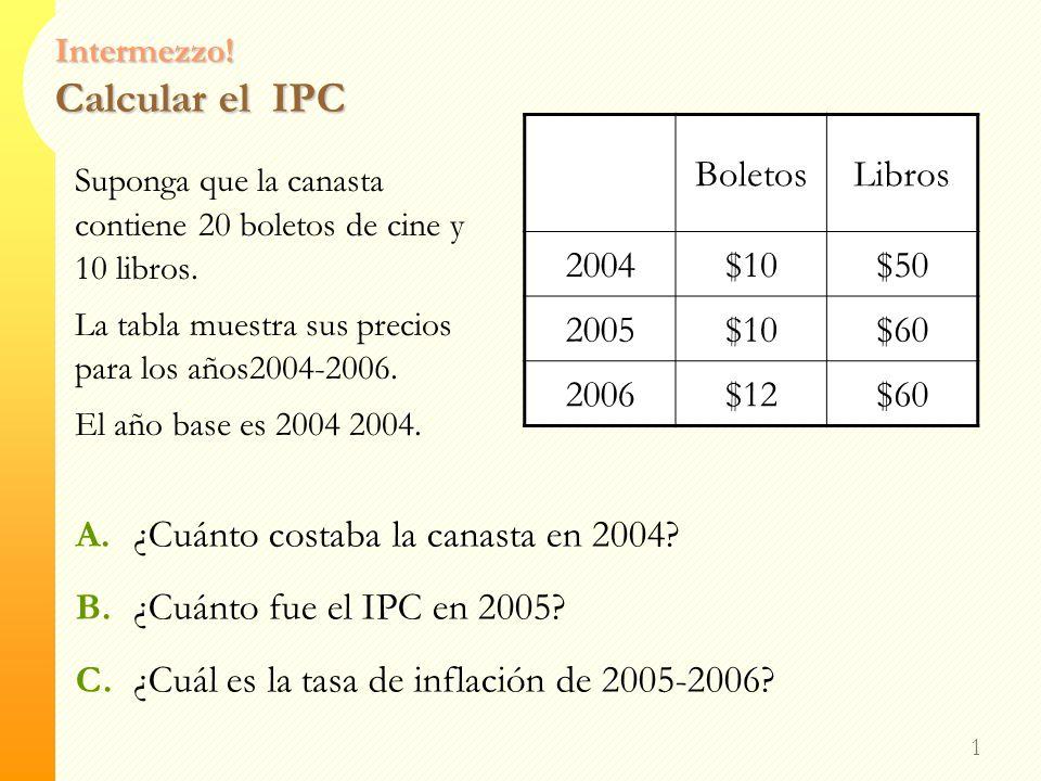 Intermezzo.Calcular el IPC 1 Suponga que la canasta contiene 20 boletos de cine y 10 libros.
