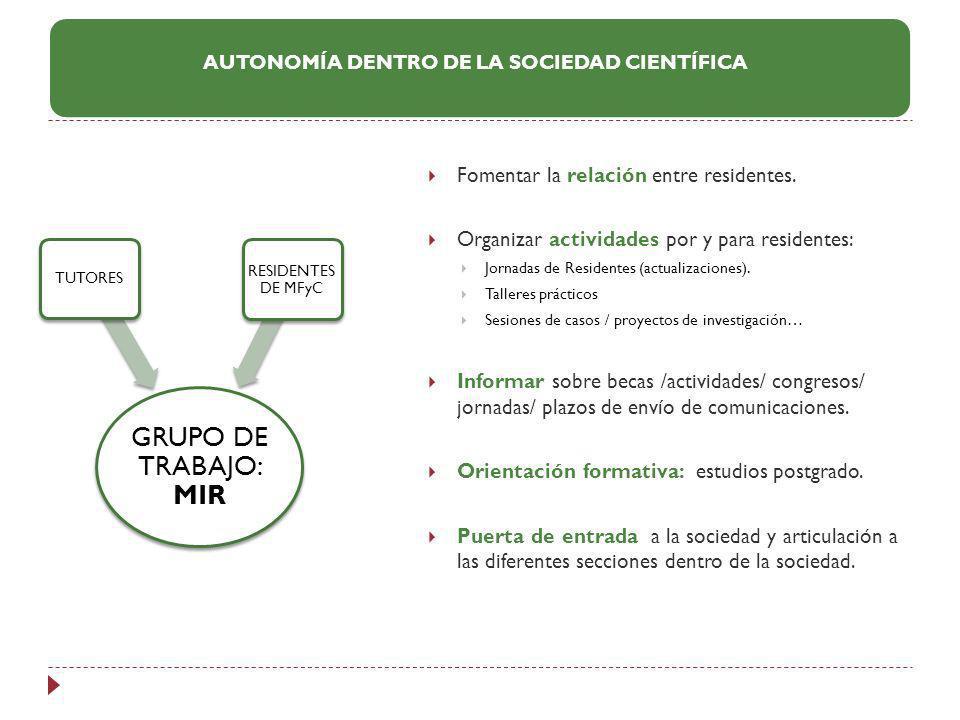 Fomentar la relación entre residentes. Organizar actividades por y para residentes: Jornadas de Residentes (actualizaciones). Talleres prácticos Sesio