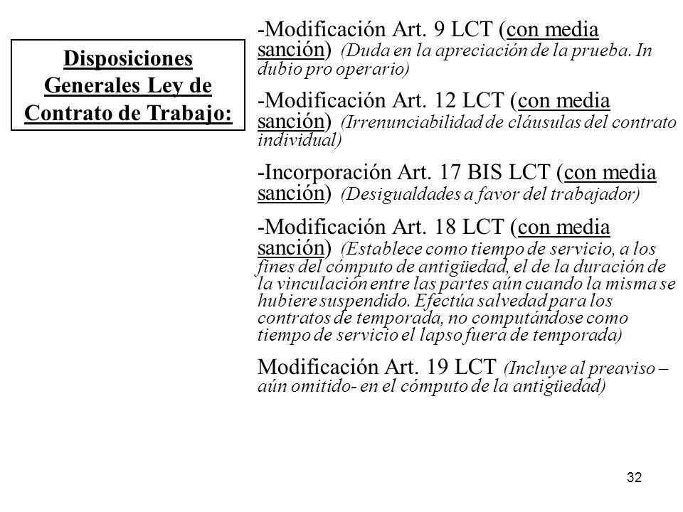 32 Disposiciones Generales Ley de Contrato de Trabajo: -Modificación Art. 9 LCT (con media sanción) (Duda en la apreciación de la prueba. In dubio pro