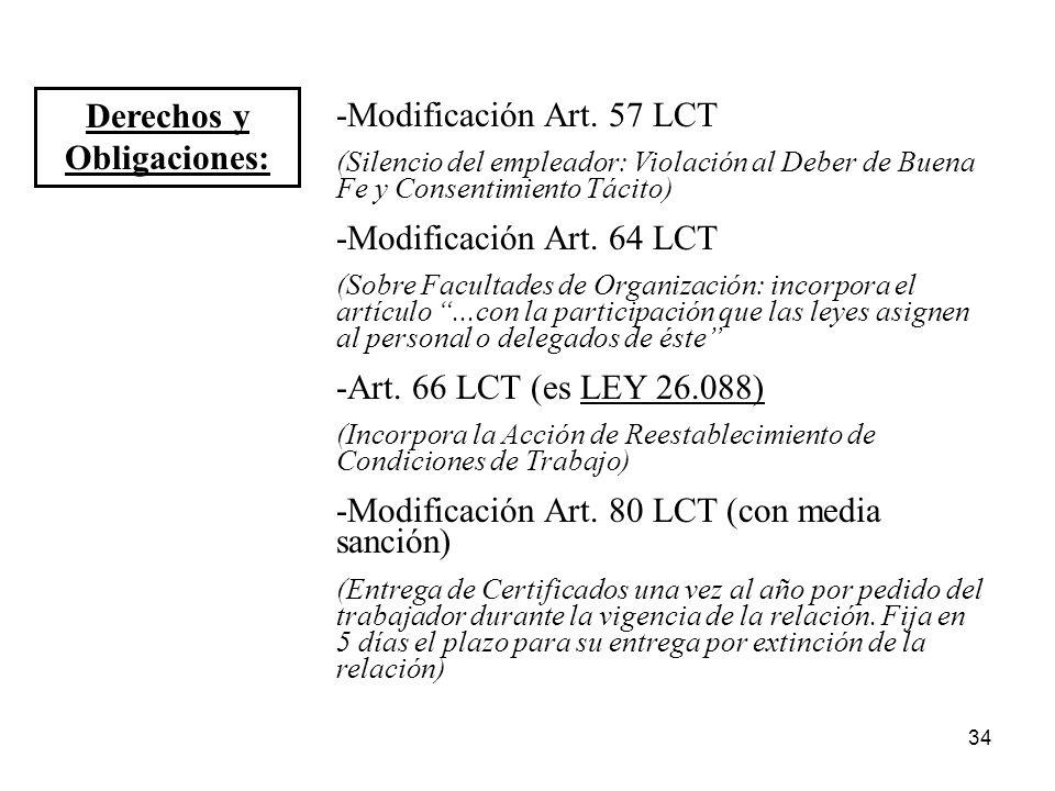 34 Derechos y Obligaciones: -Modificación Art. 57 LCT (Silencio del empleador: Violación al Deber de Buena Fe y Consentimiento Tácito) -Modificación A