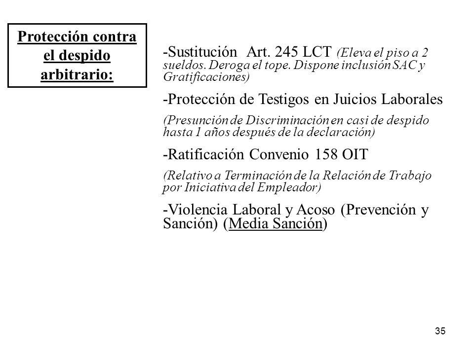35 Protección contra el despido arbitrario: -Sustitución Art. 245 LCT (Eleva el piso a 2 sueldos. Deroga el tope. Dispone inclusión SAC y Gratificacio