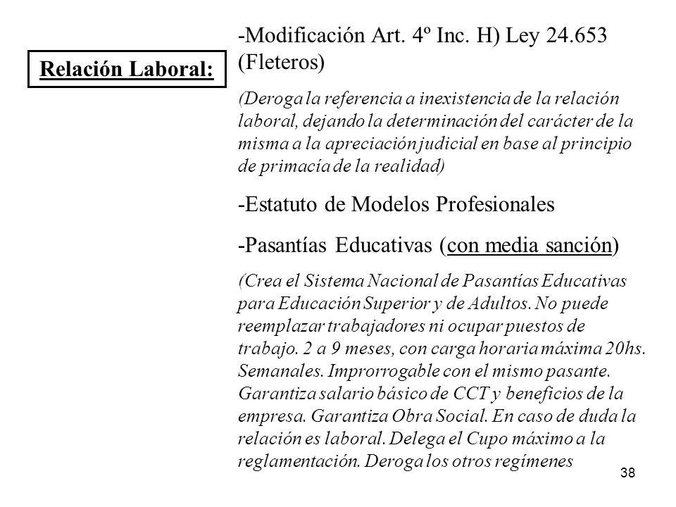 38 Relación Laboral: -Modificación Art. 4º Inc. H) Ley 24.653 (Fleteros) (Deroga la referencia a inexistencia de la relación laboral, dejando la deter