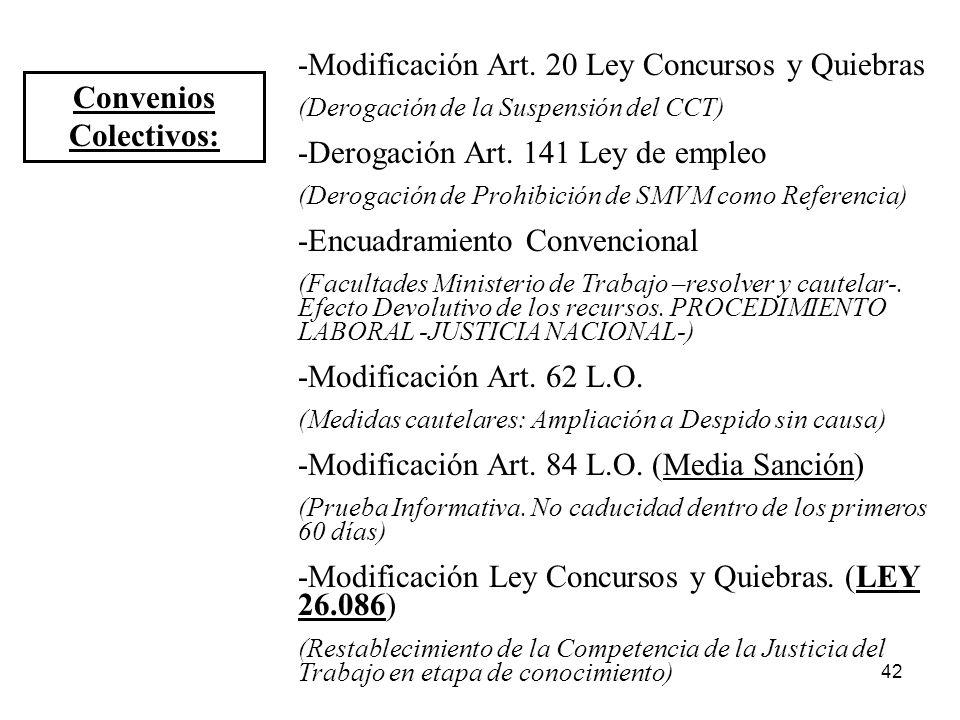 42 Convenios Colectivos: -Modificación Art. 20 Ley Concursos y Quiebras (Derogación de la Suspensión del CCT) -Derogación Art. 141 Ley de empleo (Dero