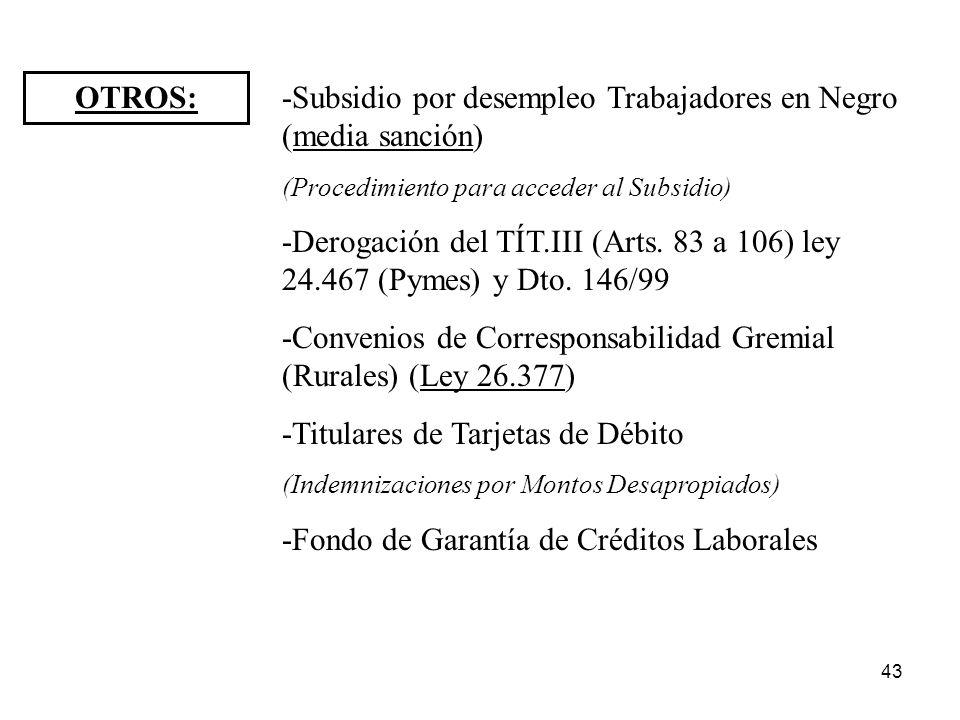 43 OTROS: -Subsidio por desempleo Trabajadores en Negro (media sanción) (Procedimiento para acceder al Subsidio) -Derogación del TÍT.III (Arts. 83 a 1