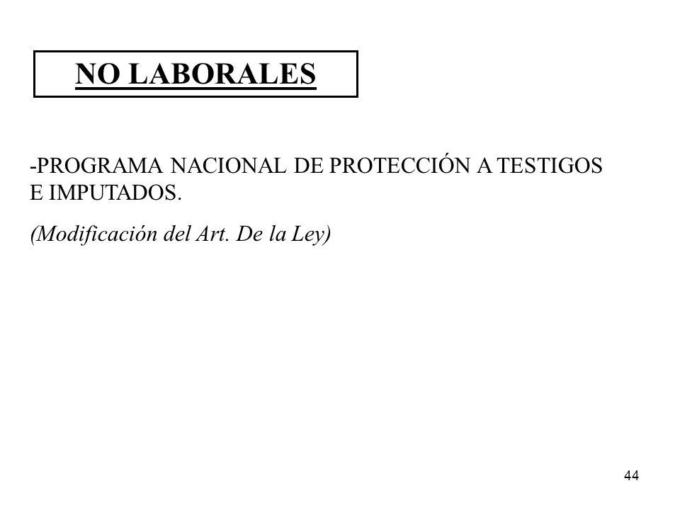 44 NO LABORALES -PROGRAMA NACIONAL DE PROTECCIÓN A TESTIGOS E IMPUTADOS. (Modificación del Art. De la Ley)