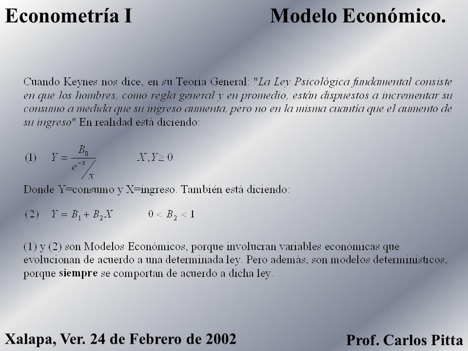 Modelo Económico.Econometría I Xalapa, Ver. 24 de Febrero de 2002 Prof. Carlos Pitta