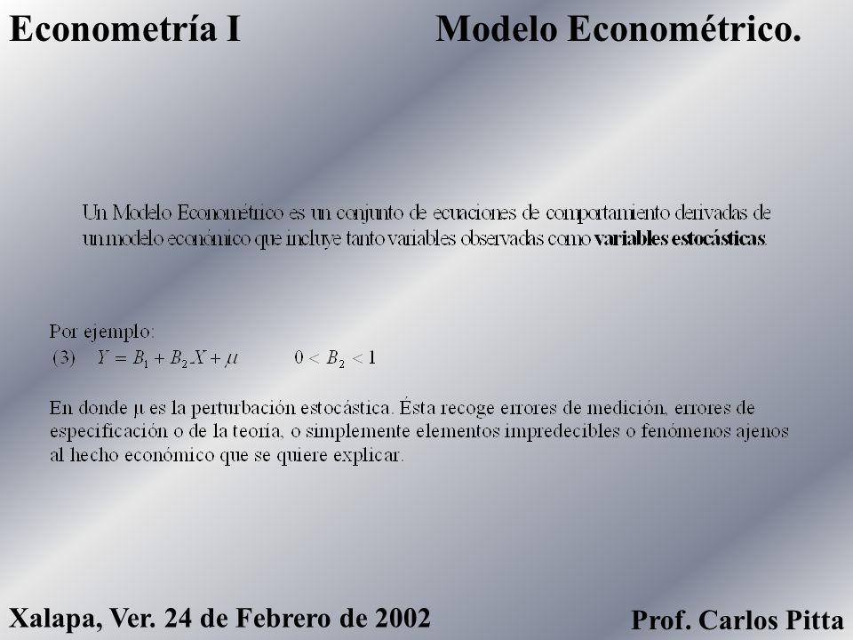 Modelo Econométrico.Econometría I Xalapa, Ver. 24 de Febrero de 2002 Prof. Carlos Pitta
