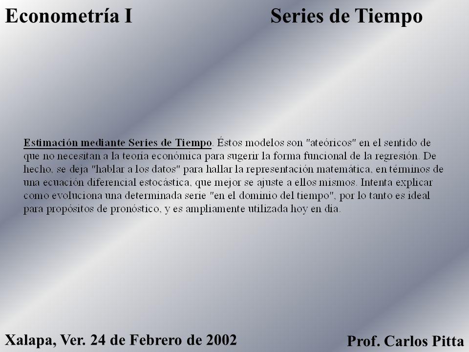 Series de TiempoEconometría I Xalapa, Ver. 24 de Febrero de 2002 Prof. Carlos Pitta