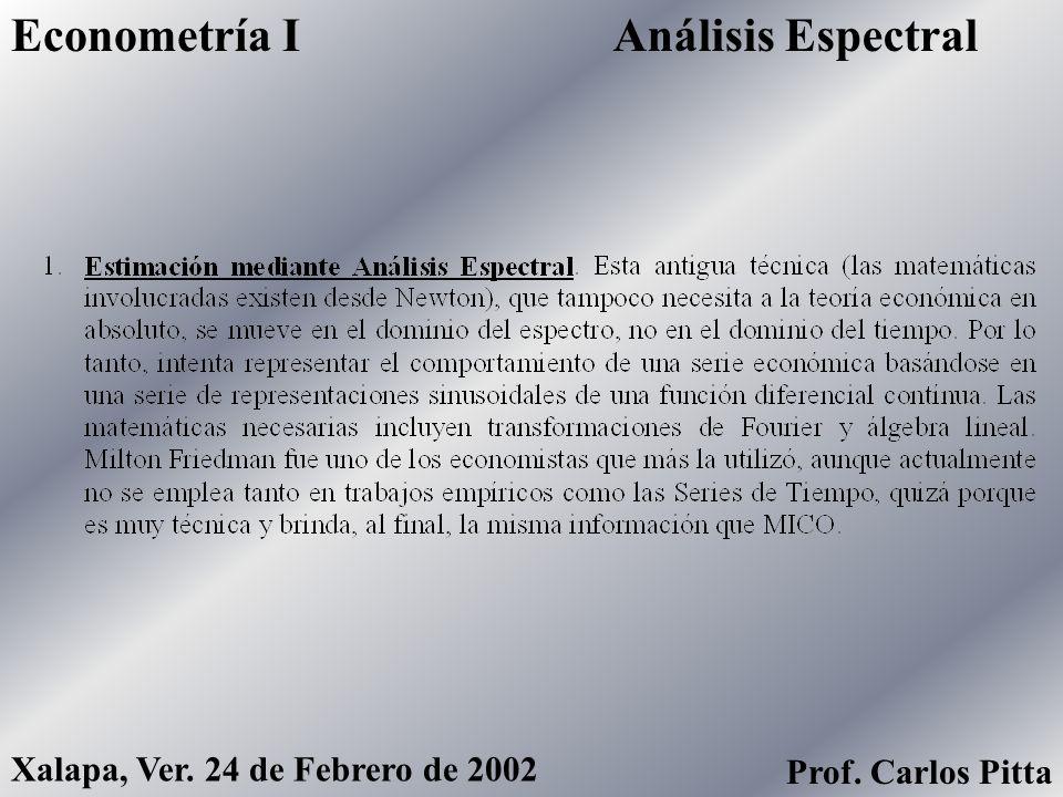 Análisis EspectralEconometría I Xalapa, Ver. 24 de Febrero de 2002 Prof. Carlos Pitta