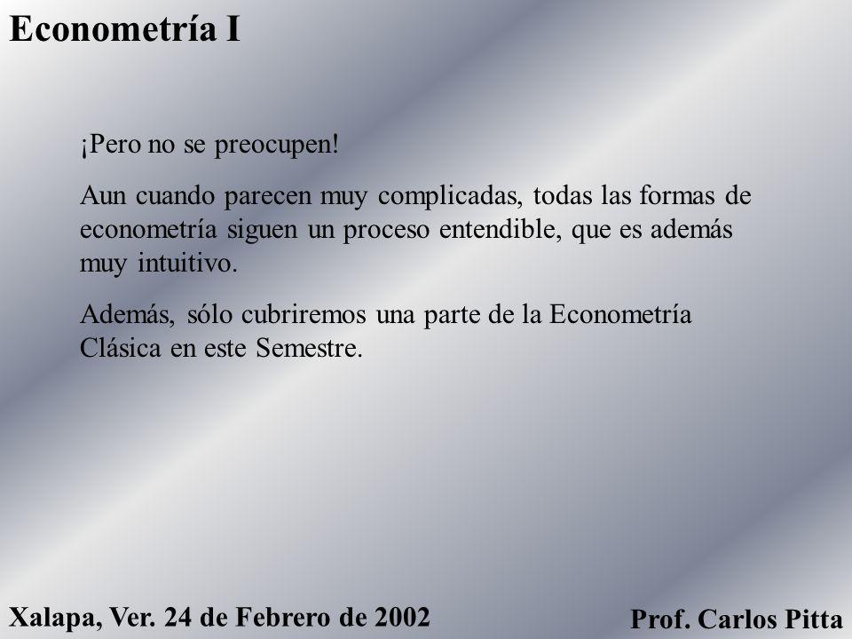 Econometría I Xalapa, Ver. 24 de Febrero de 2002 Prof. Carlos Pitta ¡Pero no se preocupen! Aun cuando parecen muy complicadas, todas las formas de eco