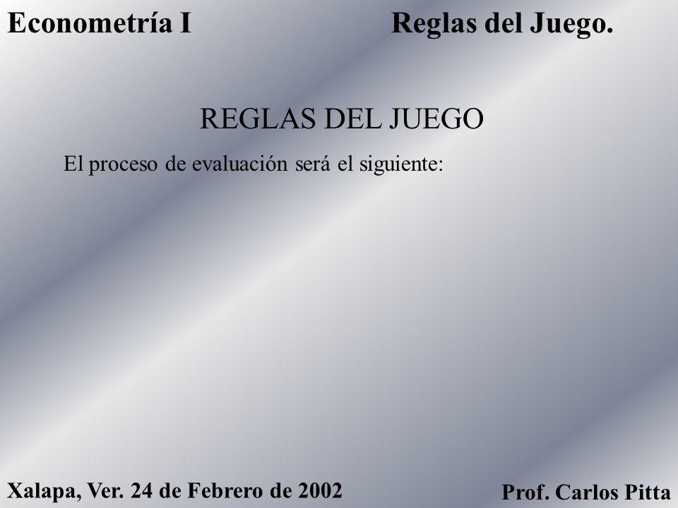 Reglas del Juego.Econometría I Xalapa, Ver. 24 de Febrero de 2002 Prof. Carlos Pitta REGLAS DEL JUEGO El proceso de evaluación será el siguiente: