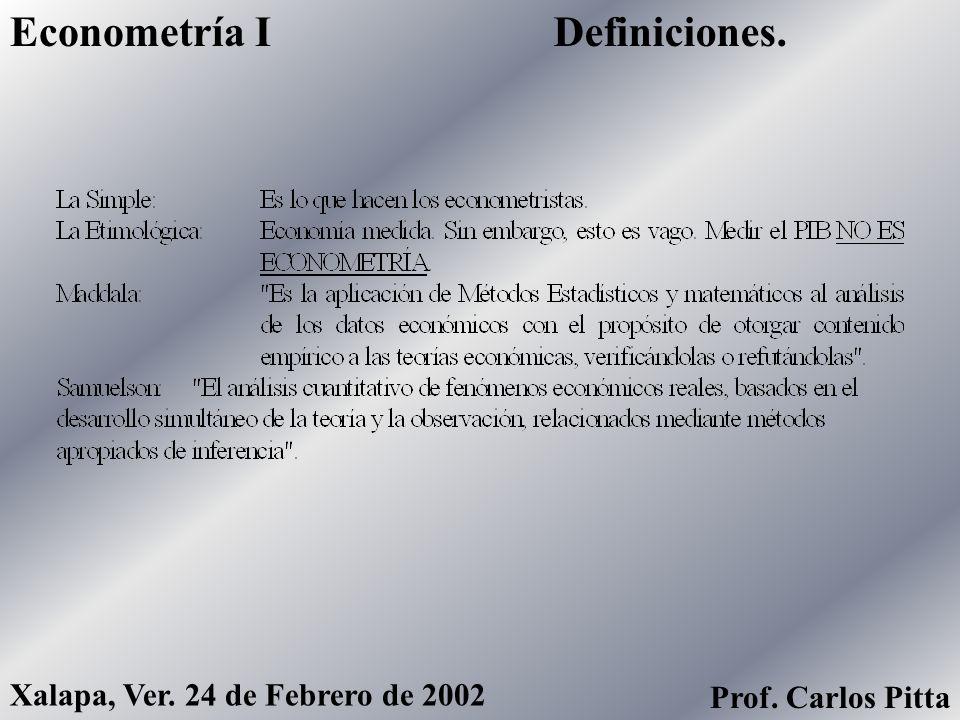 Definiciones.Econometría I Xalapa, Ver. 24 de Febrero de 2002 Prof. Carlos Pitta